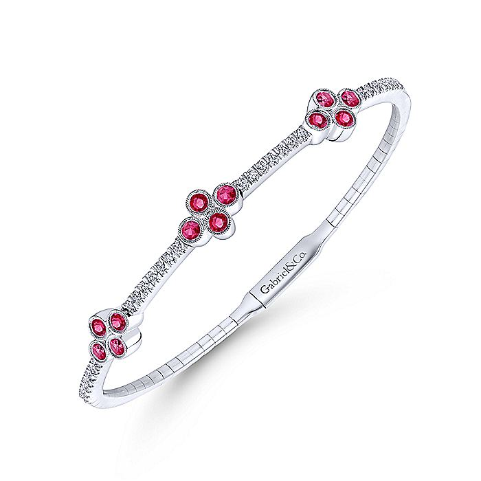 14K White Gold Bangle with Diamond and Ruby Quatrefoil Stations