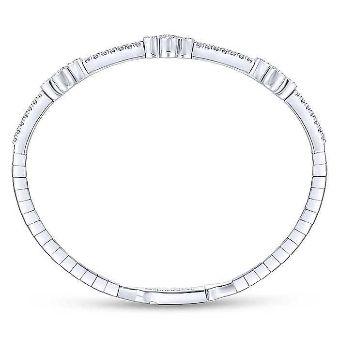 14K White Gold Bangle with Quatrefoil Diamond Stations
