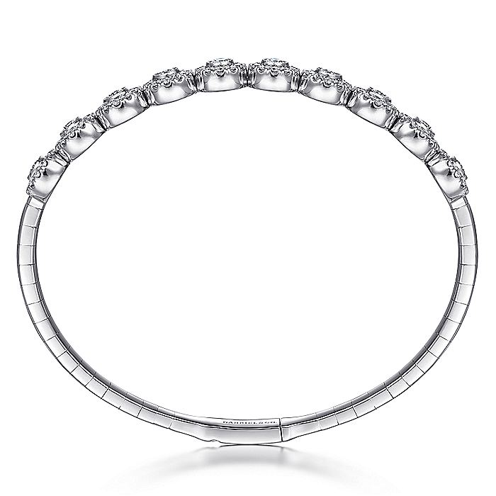 14K White Gold Bangle with Round Diamond Halo Stations