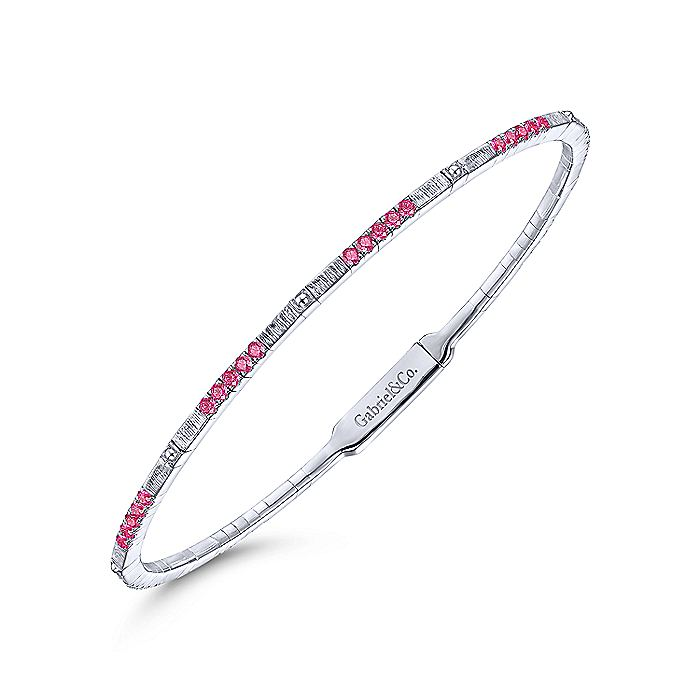 14K White Gold Bangle with Ruby Clusters