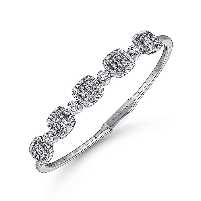 14K White Gold Bangle with Twisted Rope Pavé Diamond Stations