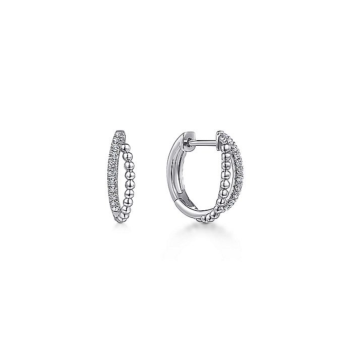 14K White Gold Beaded 15mm Diamond Huggie Earrings