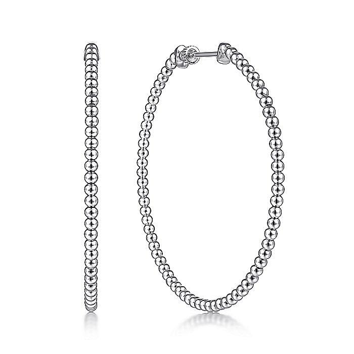14K White Gold Beaded 50mm Round Classic Hoop Earrings