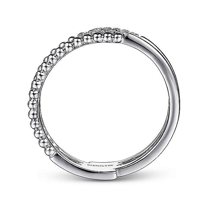 14K White Gold Beaded Diamond Ring