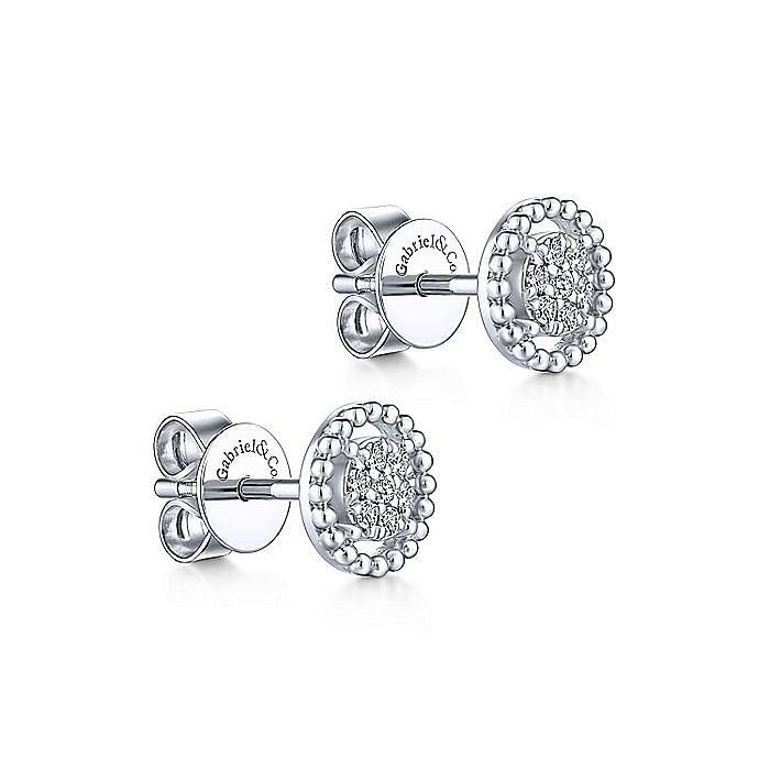 14K White Gold Beaded Halo Diamond Pave Stud Earrings