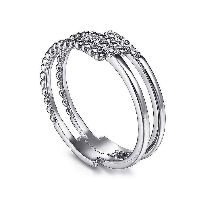 14K White Gold Beaded Interlocking Diamond Ring