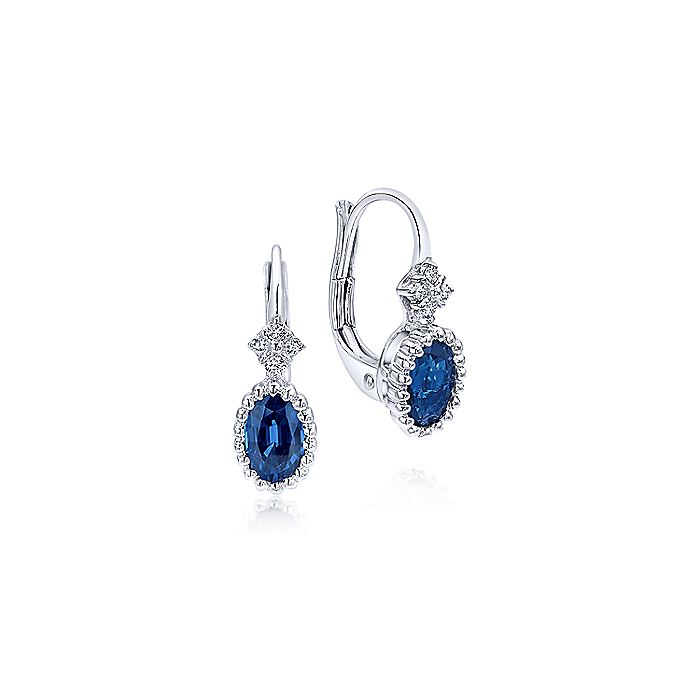 14K White Gold Beaded Oval Sapphire and Diamond Drop Earrings