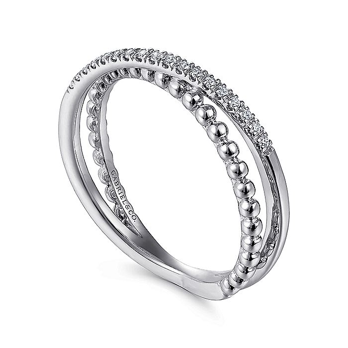 14K White Gold Beaded Pavé Diamond Criss Cross Ring