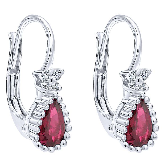 14K White Gold Beaded Pear Shaped Ruby and Diamond Drop Earrings
