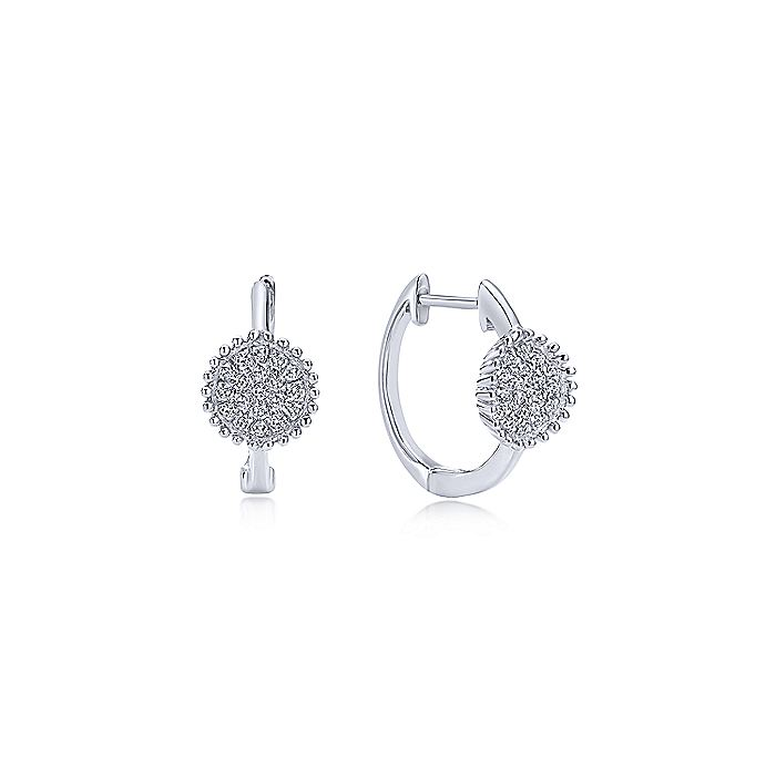14K White Gold Beaded Round 10mm Diamond Cluster Huggie Earrings