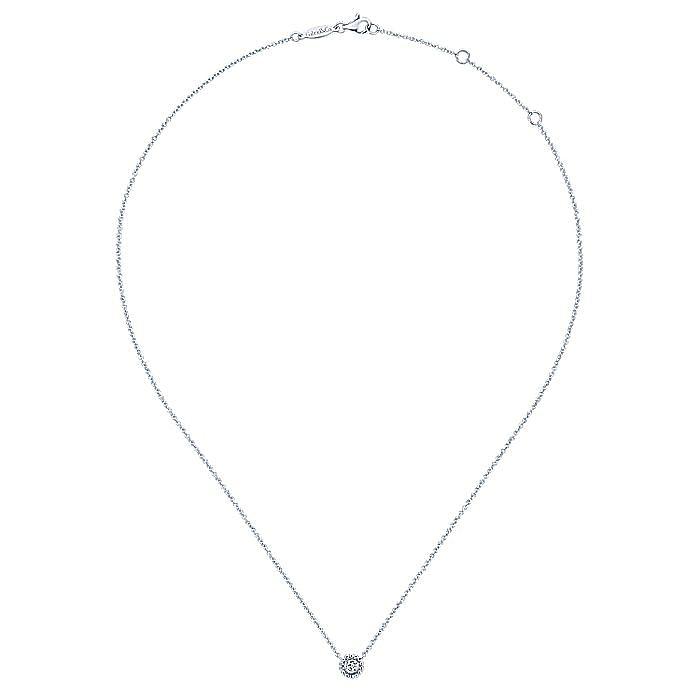 14K White Gold Beaded Round Bezel Set Diamond Pendant Necklace