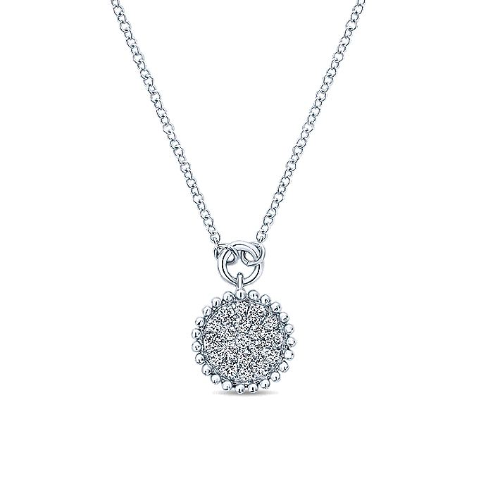 14K White Gold Beaded Round Diamond Cluster Pendant Necklace