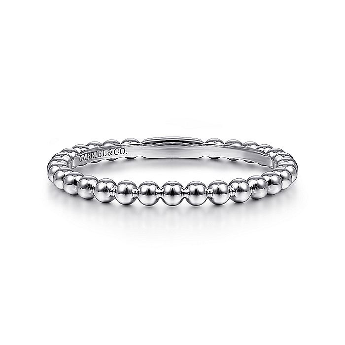 14K White Gold Beaded Stackable Ring