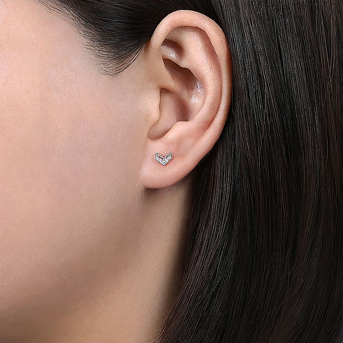 14K White Gold Beaded and Diamond V Stud Earrings