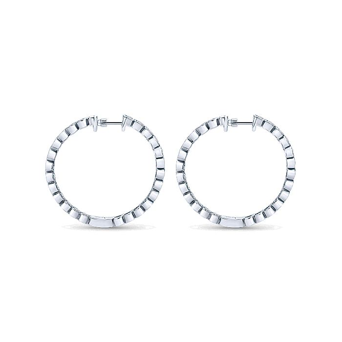 14K White Gold Bezel 30mm Round Inside Out Diamond Hoop Earrings