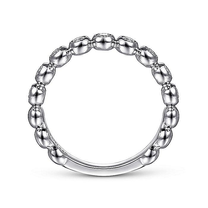 14K White Gold Bezel Set Diamond Ring Band