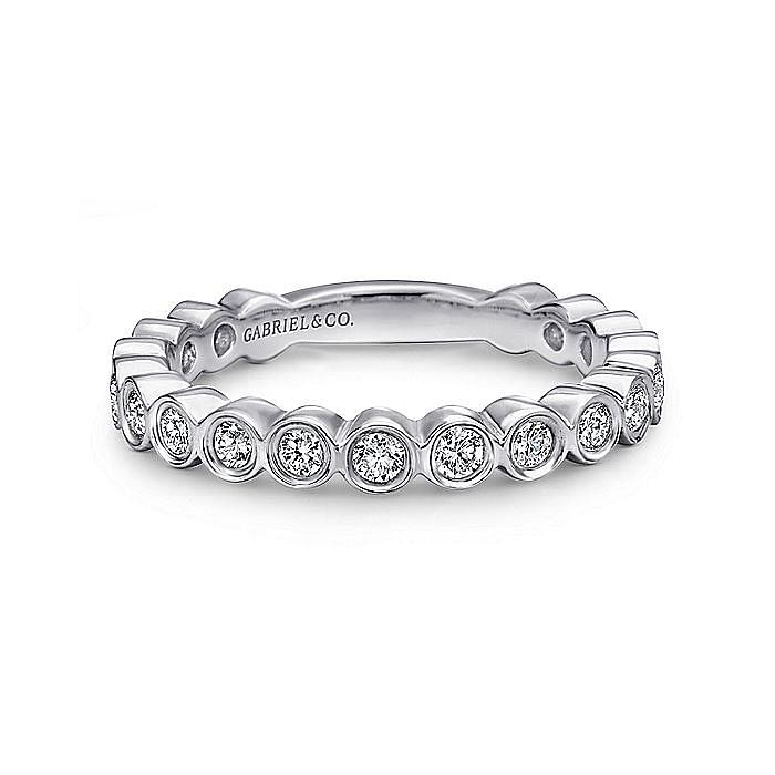 14K White Gold Bezel Set Diamond Stackable Ring