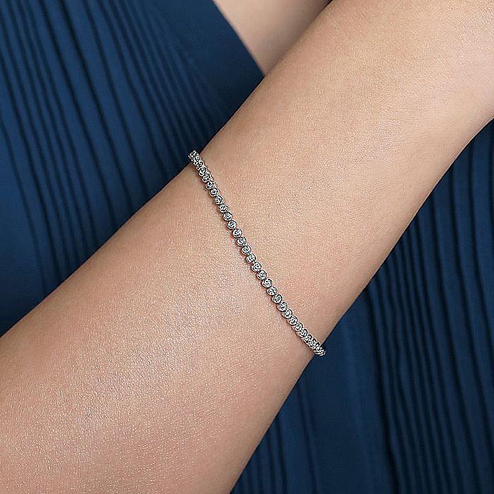 14K White Gold Bezel Set Diamond Tennis Bracelet