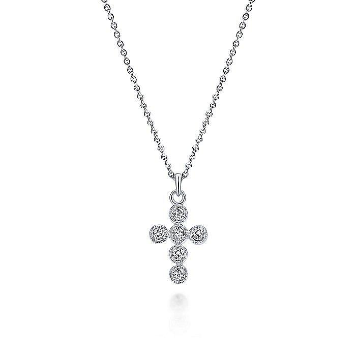 14K White Gold Bezel Set Round Diamond Cross Necklace