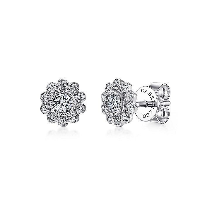 14K White Gold Bezel Set Round Diamond Flower Stud Earrings