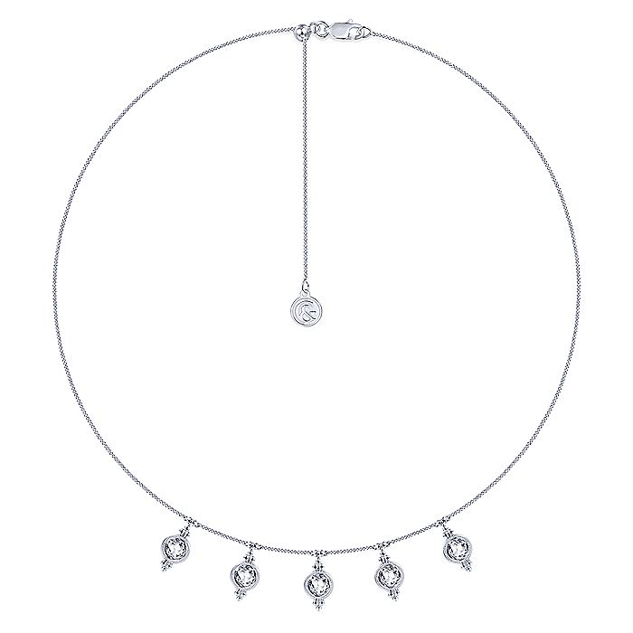 14K White Gold Bezel Set White Topaz Drops Necklace with Millgrain