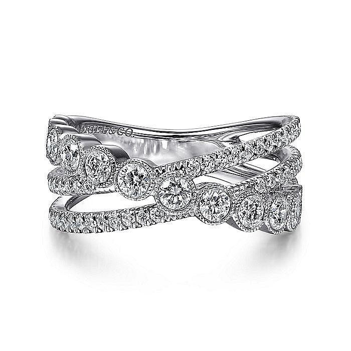 14K White Gold Bezel and Prong Set Criss Cross Diamond Ring
