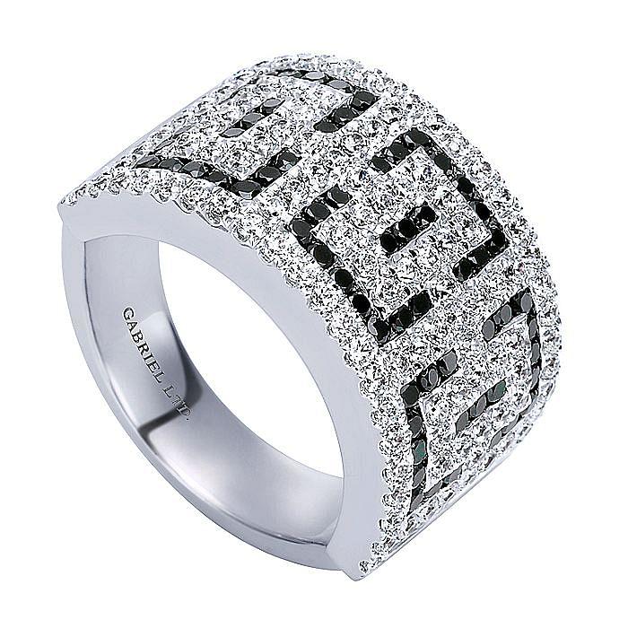 14K White Gold Black and White Diamond Pattern Wide Ring