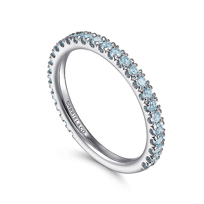 14K White Gold Blue Topaz Stacklable Ring