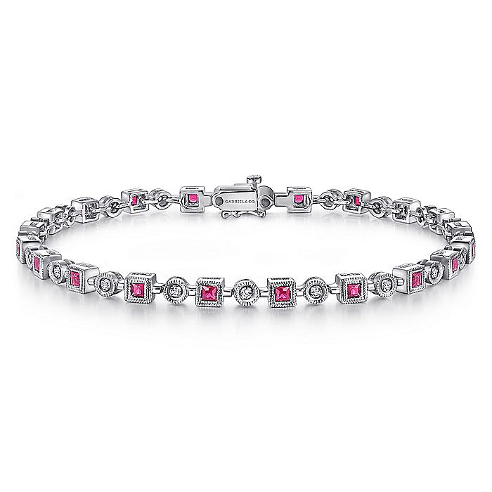 14K White Gold Bracelet with Rubies and Diamonds
