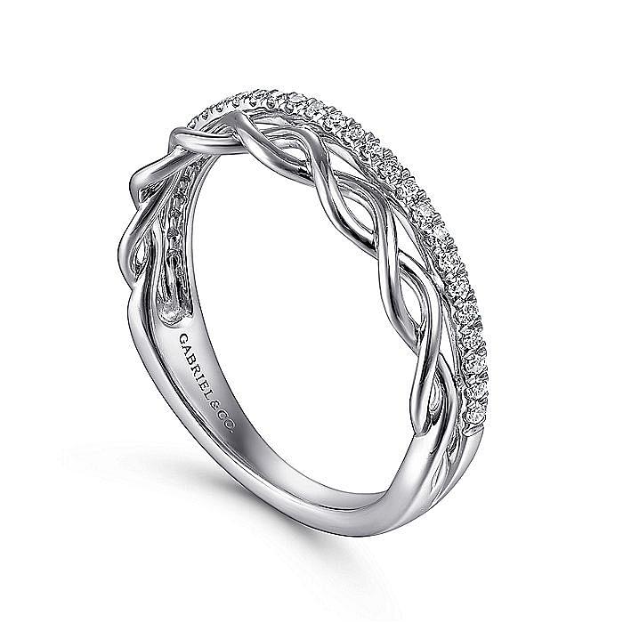 14K White Gold Braided Metal and Diamond Row Ring