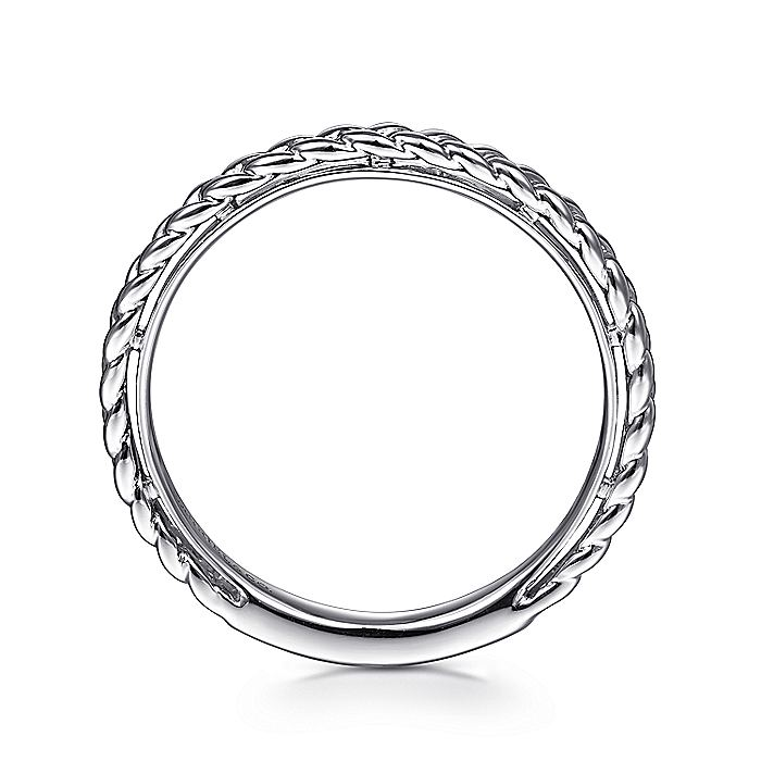 14K White Gold Braided Stackable Ring