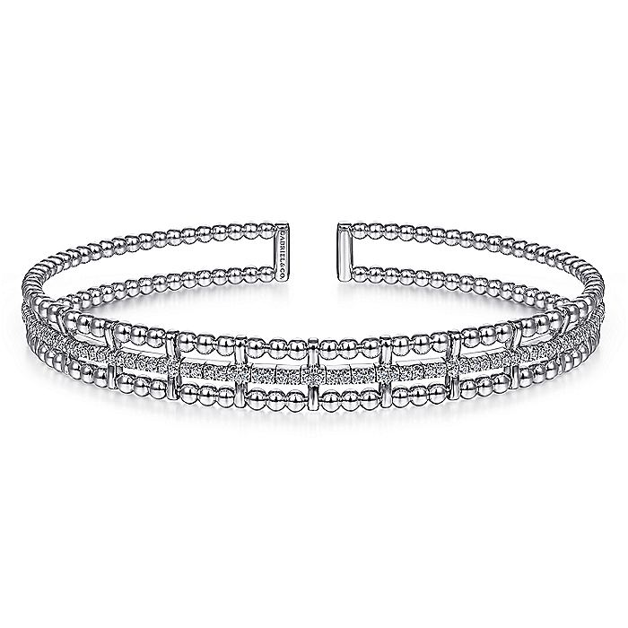14K White Gold Bujukan Bead Cuff Bangle with Inner Diamond Channel