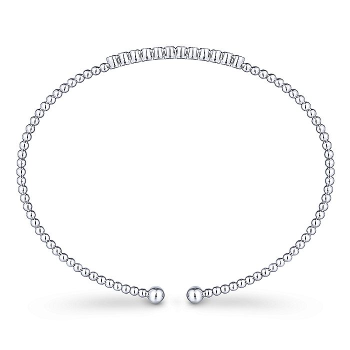 14K White Gold Bujukan Bead Cuff Bracelet with Bezel Set Diamond Stations