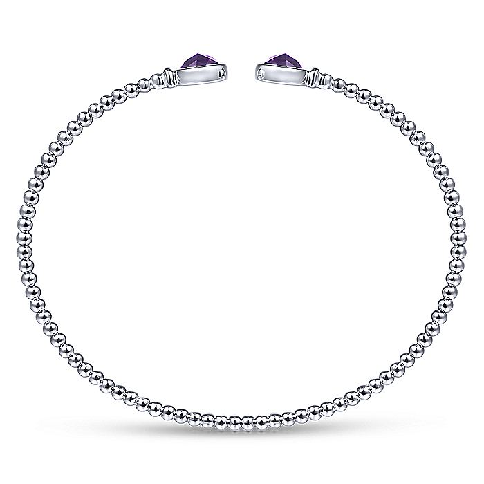 14K White Gold Bujukan Bead Cuff Bracelet with Bezel Set Round Amethyst
