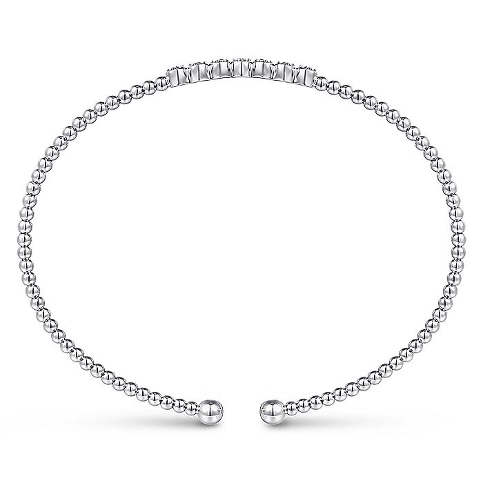 14K White Gold Bujukan Bead Cuff Bracelet with Cluster Diamond Stations