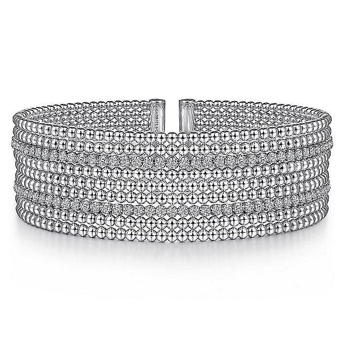 14K White Gold Bujukan Bead Cuff Bracelet with Diamond Channels