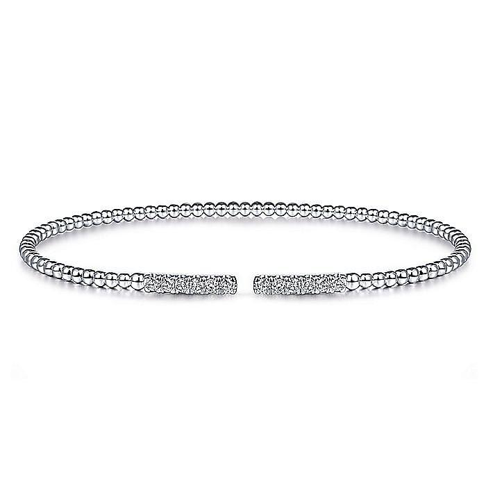 14K White Gold Bujukan Bead Cuff Bracelet with Diamond Pavé Bars