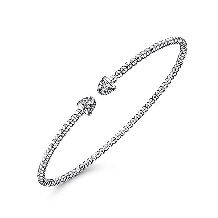 14K White Gold Bujukan Bead Cuff Bracelet with Diamond Pavé Caps