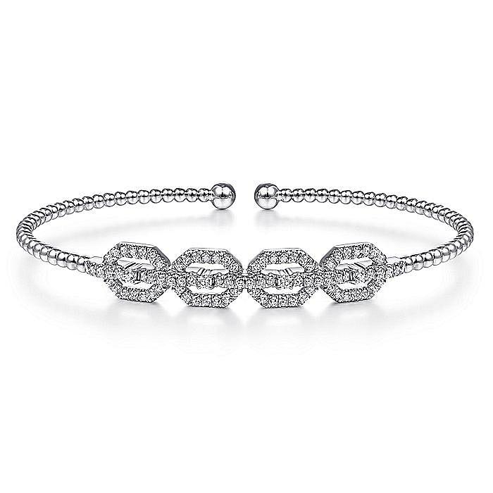 14K White Gold Bujukan Bead Cuff Bracelet with Diamond Pavé Links