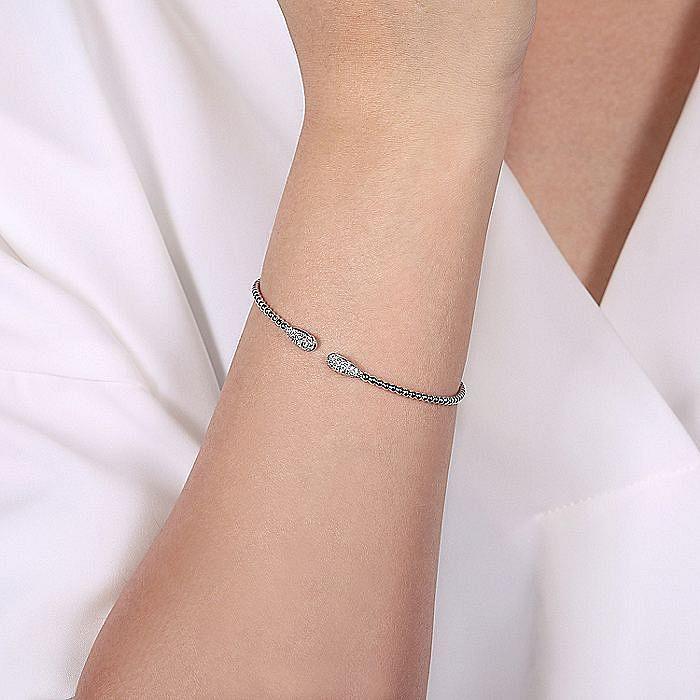 14K White Gold Bujukan Bead Cuff Bracelet with Diamond Pavé Teardrops