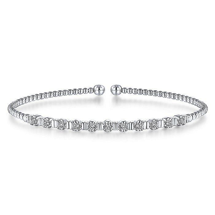 14K White Gold Bujukan Bead Cuff Bracelet with Diamond Stations