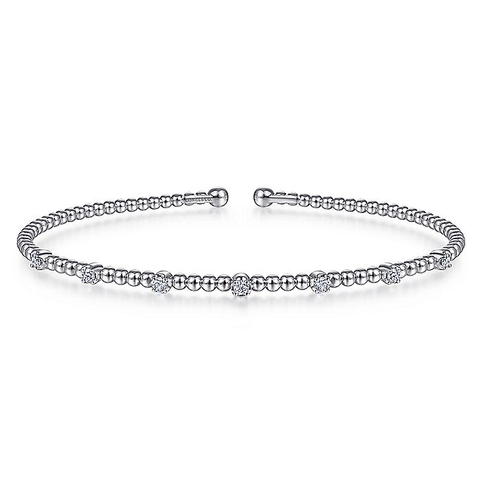 14K White Gold Bujukan Bead Cuff Bracelet with Diamond Stations