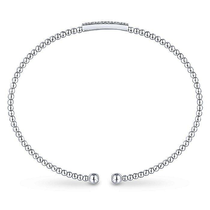 14K White Gold Bujukan Bead Cuff Bracelet with Diamonds