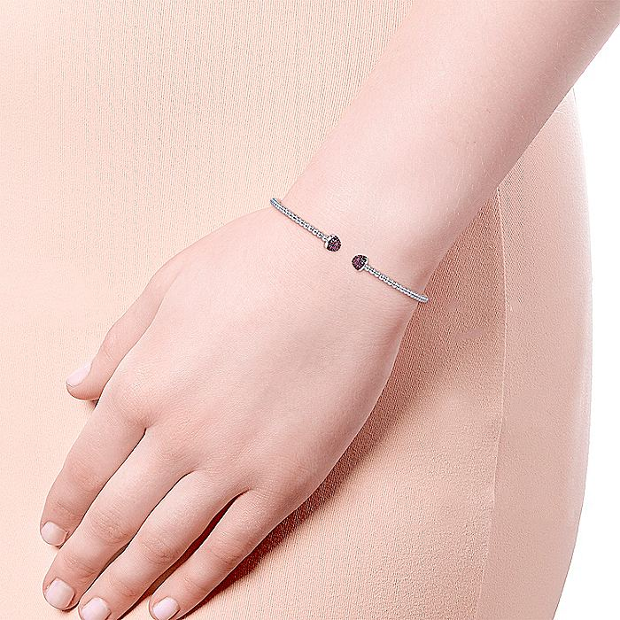 14K White Gold Bujukan Bead Cuff Bracelet with Ruby Pavé Caps