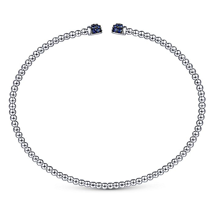 14K White Gold Bujukan Bead Cuff Bracelet with Sapphire Pavé Caps