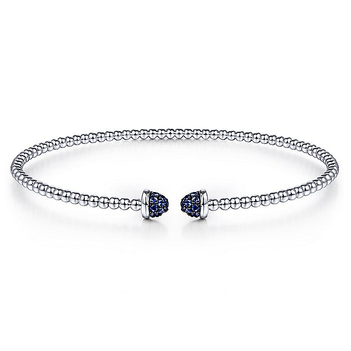 14K White Gold Bujukan Bead Cuff Bracelet with Sapphire Pavé Caps