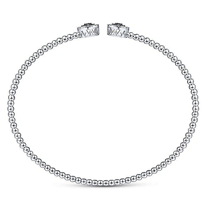 14K White Gold Bujukan Bead Cuff Bracelet with Sapphire and Diamond Halo Caps
