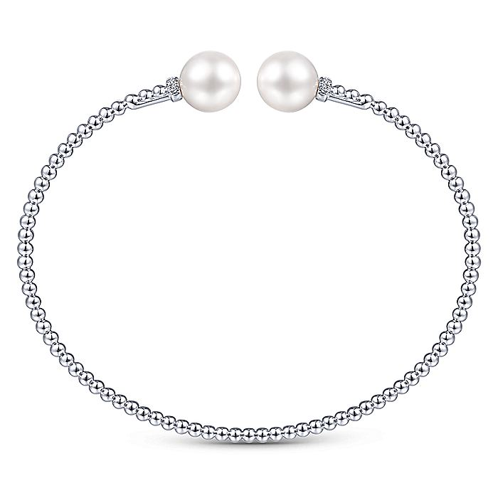 14K White Gold Bujukan Bead Split Bracelet with Pearl and Diamond Caps