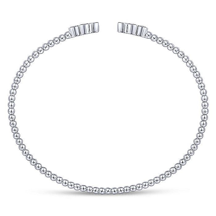 14K White Gold Bujukan Bead Split Cuff Bracelet with Quatrefoil Diamond Endcaps