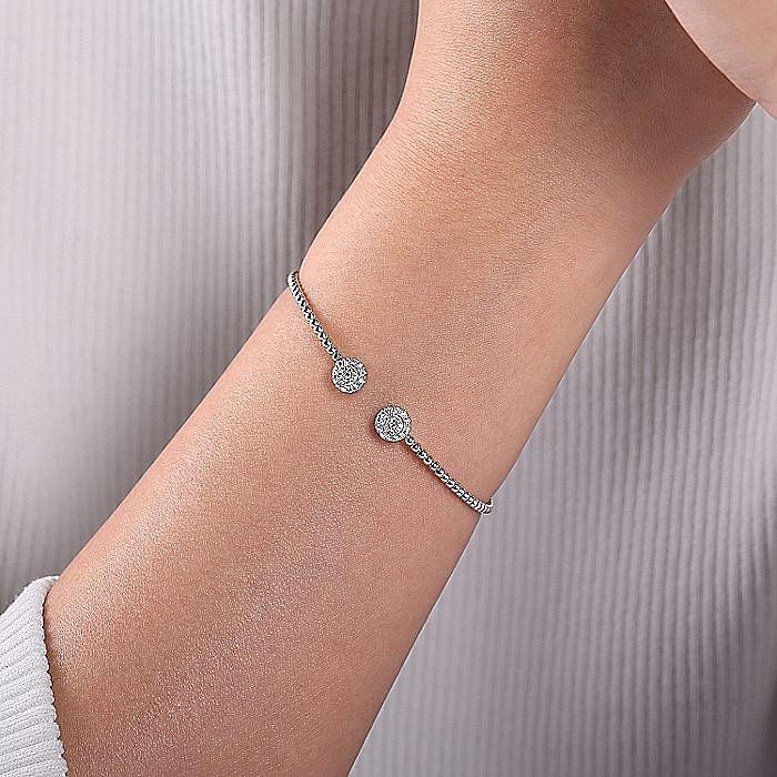 14K White Gold Bujukan Bead Split Cuff Bracelet with Round Pavé Diamond Discs